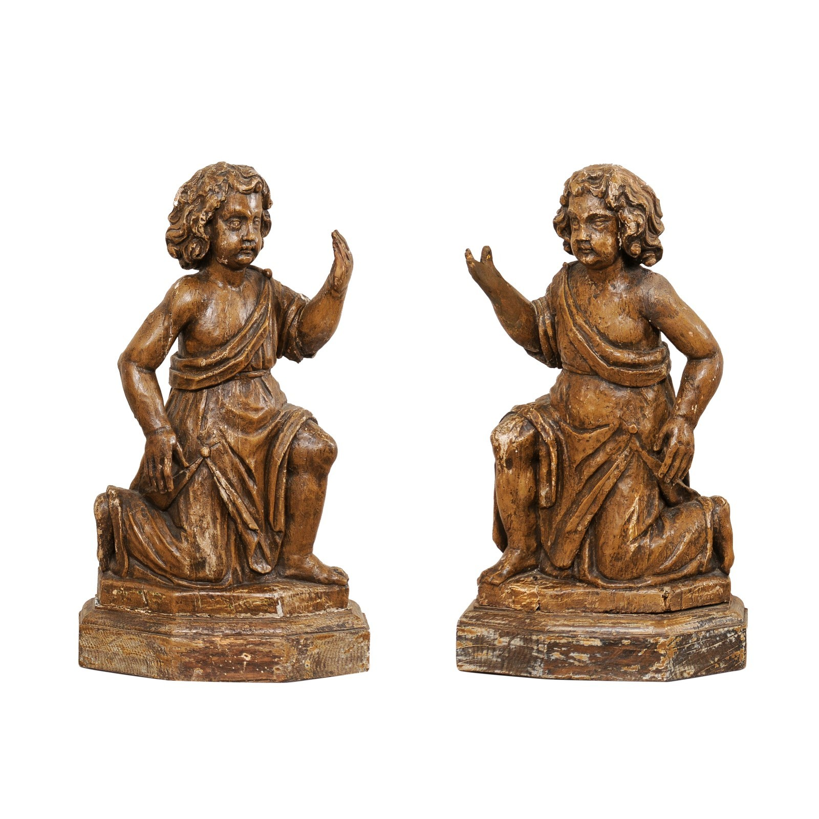 French Carved-Wood Putti Figures, 19th C.