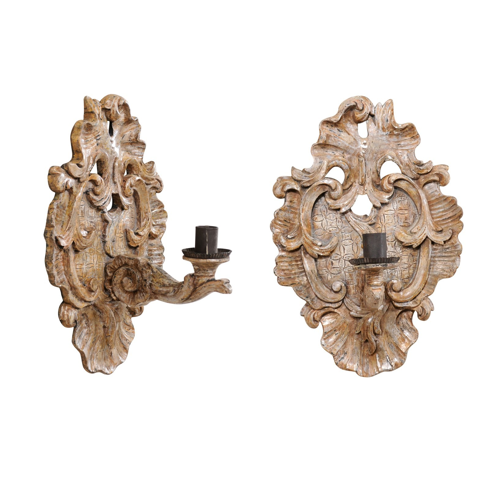 Antique Acanthus Leaf Candle Sconces, Italy