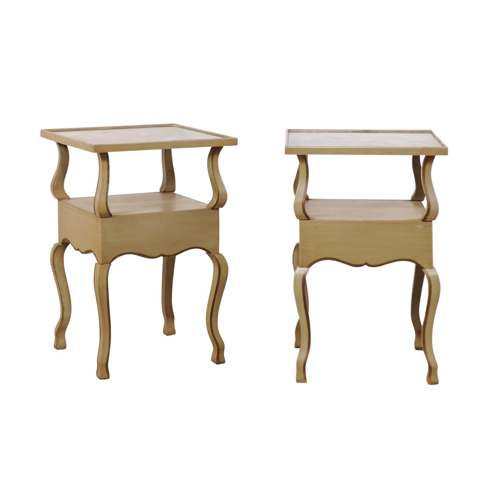 Pair French Mirror-Top Side Tables, 1930's