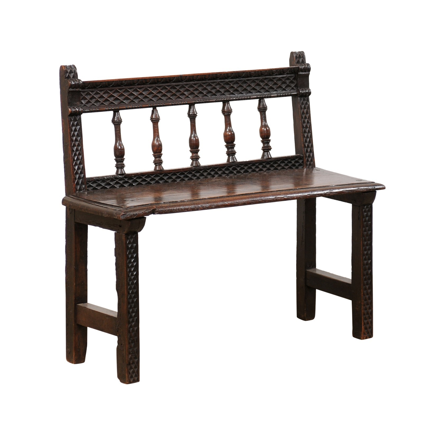 18th C. Spanish Cute-Size Entry Hall Bench