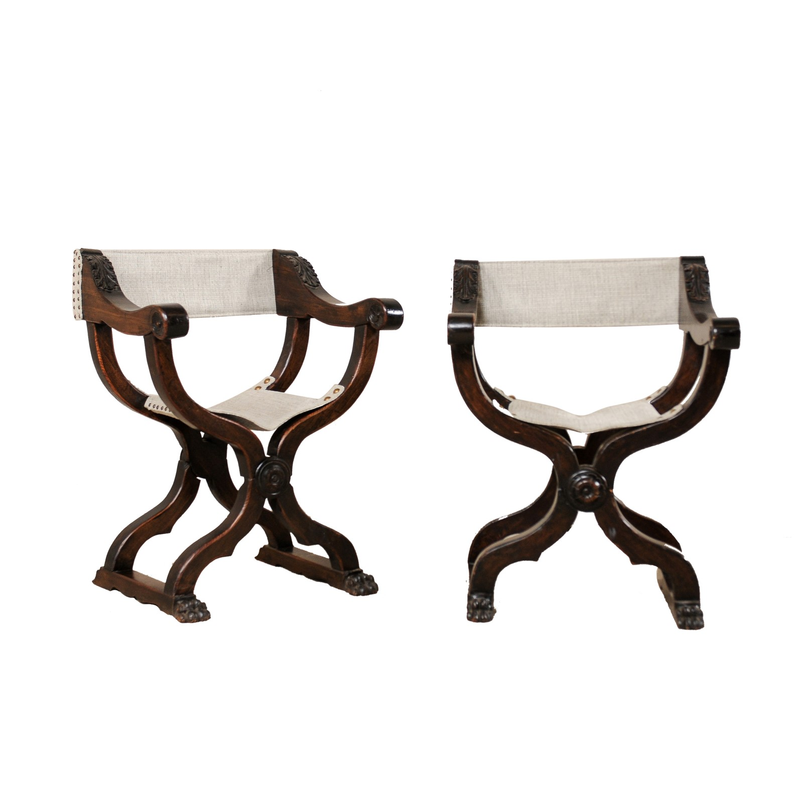 Pair Italian Wooden Dante Chairs