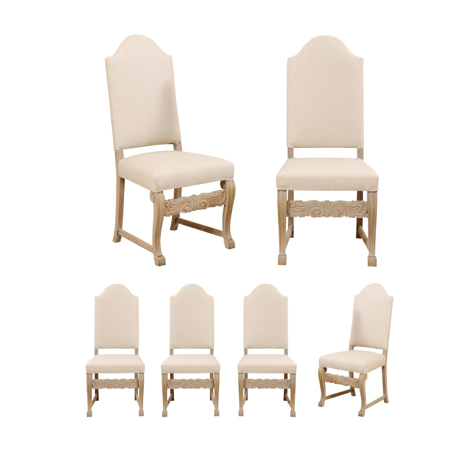 Set of 6 Swedish Upholstered Side Chairs