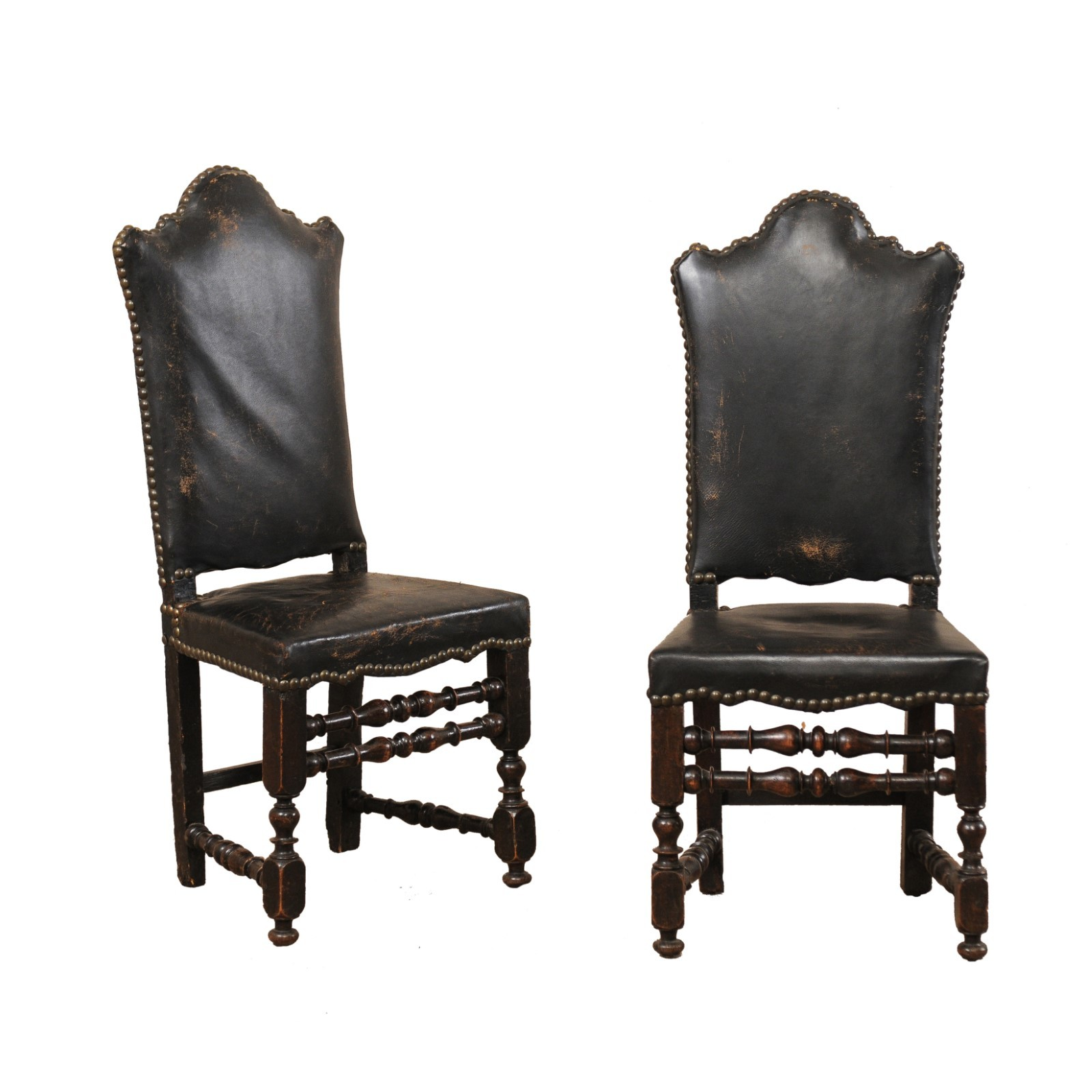 18th C. Italian Tall Back Hall Chairs