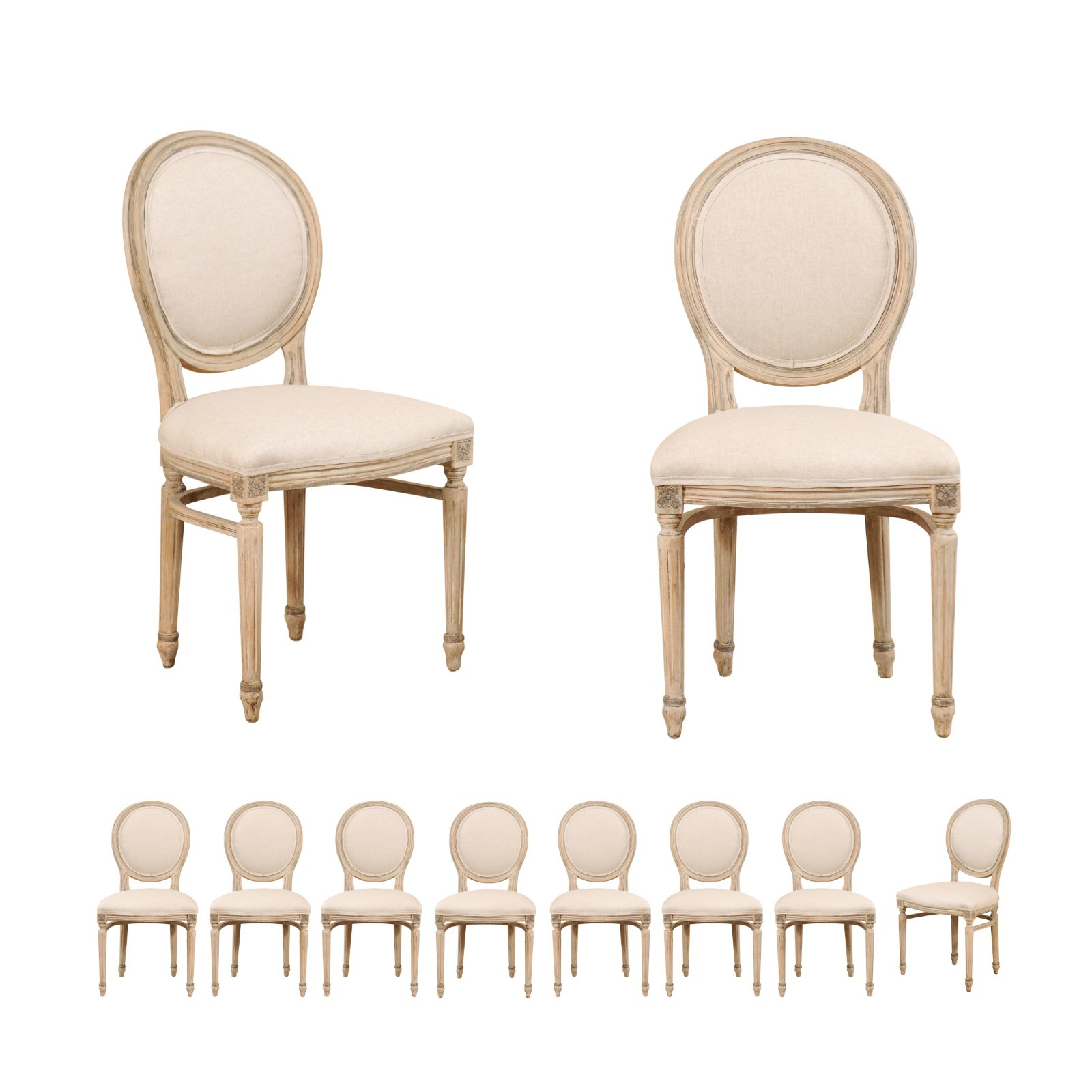 Set of 10 Louis XVI Style Side Chairs