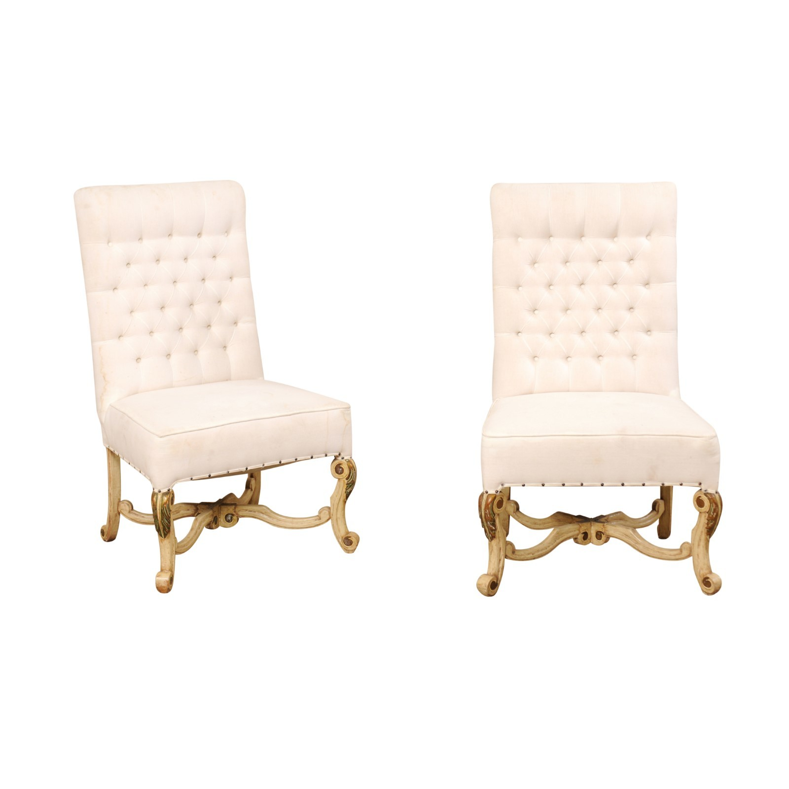 Pair High-back Chairs w/Nicely Carved Legs
