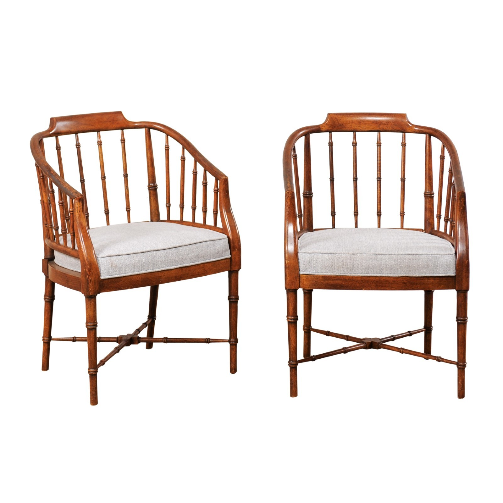 Pair Mid-Century Faux-Bamboo Carved Chairs