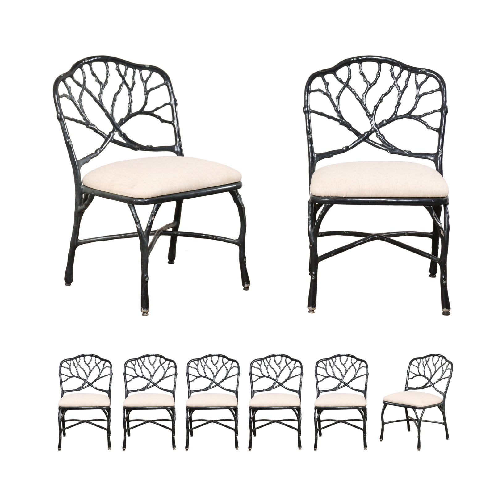 Twig & Branch Motif Patio Dining Chairs (8)
