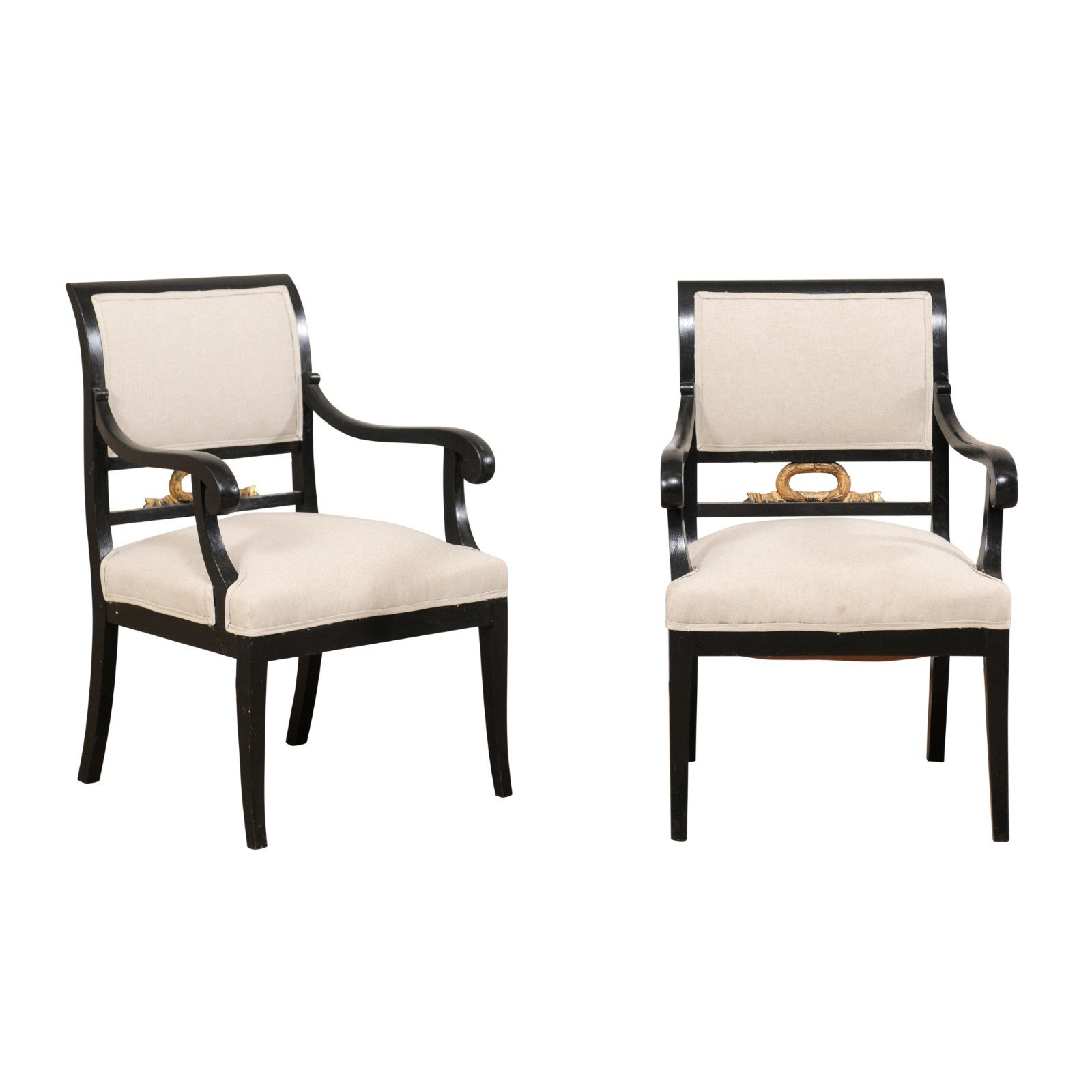 Pair of Swedish Empire Arm Chairs, 19th C.