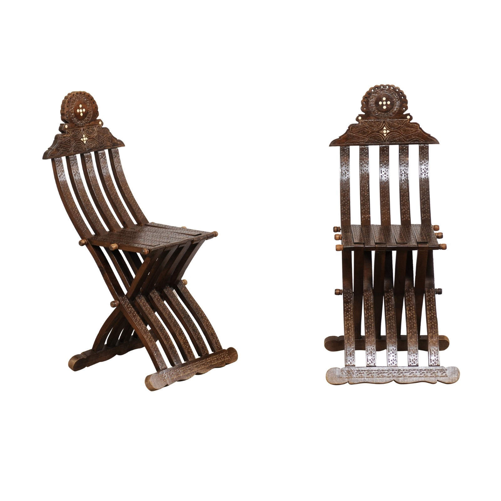 Pair Syrian Folding Scribe Chairs w/Inlays