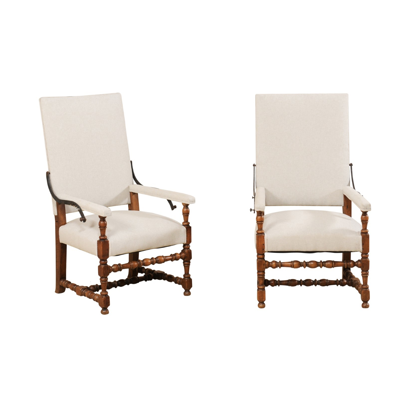 Pair of 19th C. Reclining Armchairs, Italy