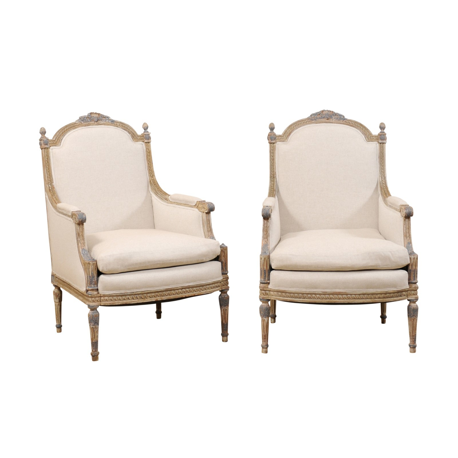 Pair of French Bergère Chairs, 19th Century