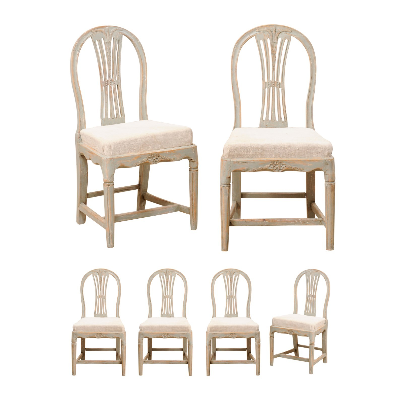 Set of 6 Period Gustavian Wheat Back Chairs