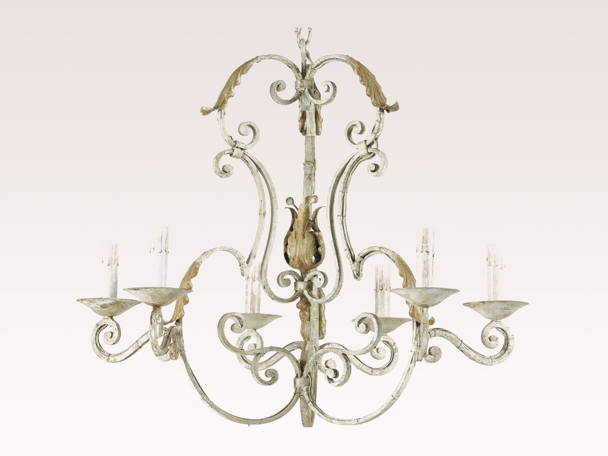 French Painted 6-Light Chandelier