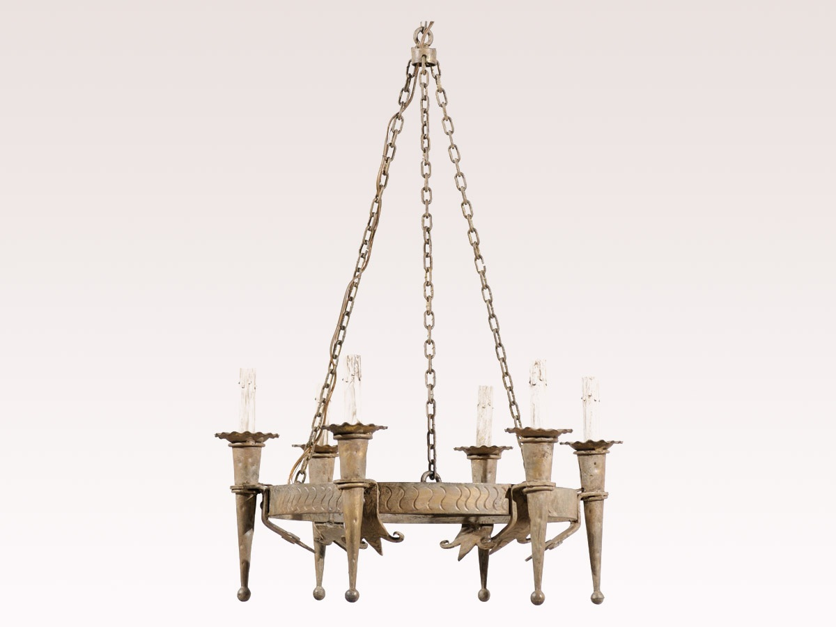 French Hammered Metal Chandelier