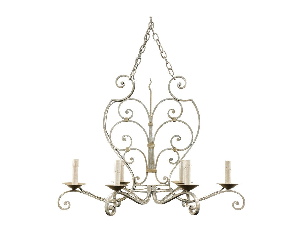French Scrolling Iron Chandelier