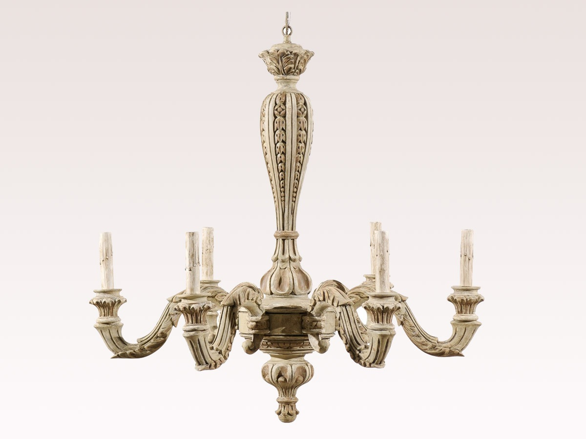 French Six-Light Wood Chandelier