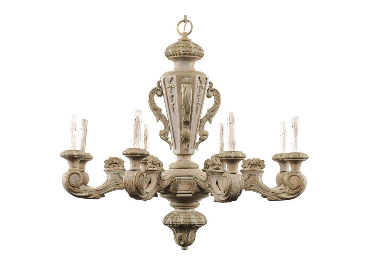 A French Carved Wood Chandelier