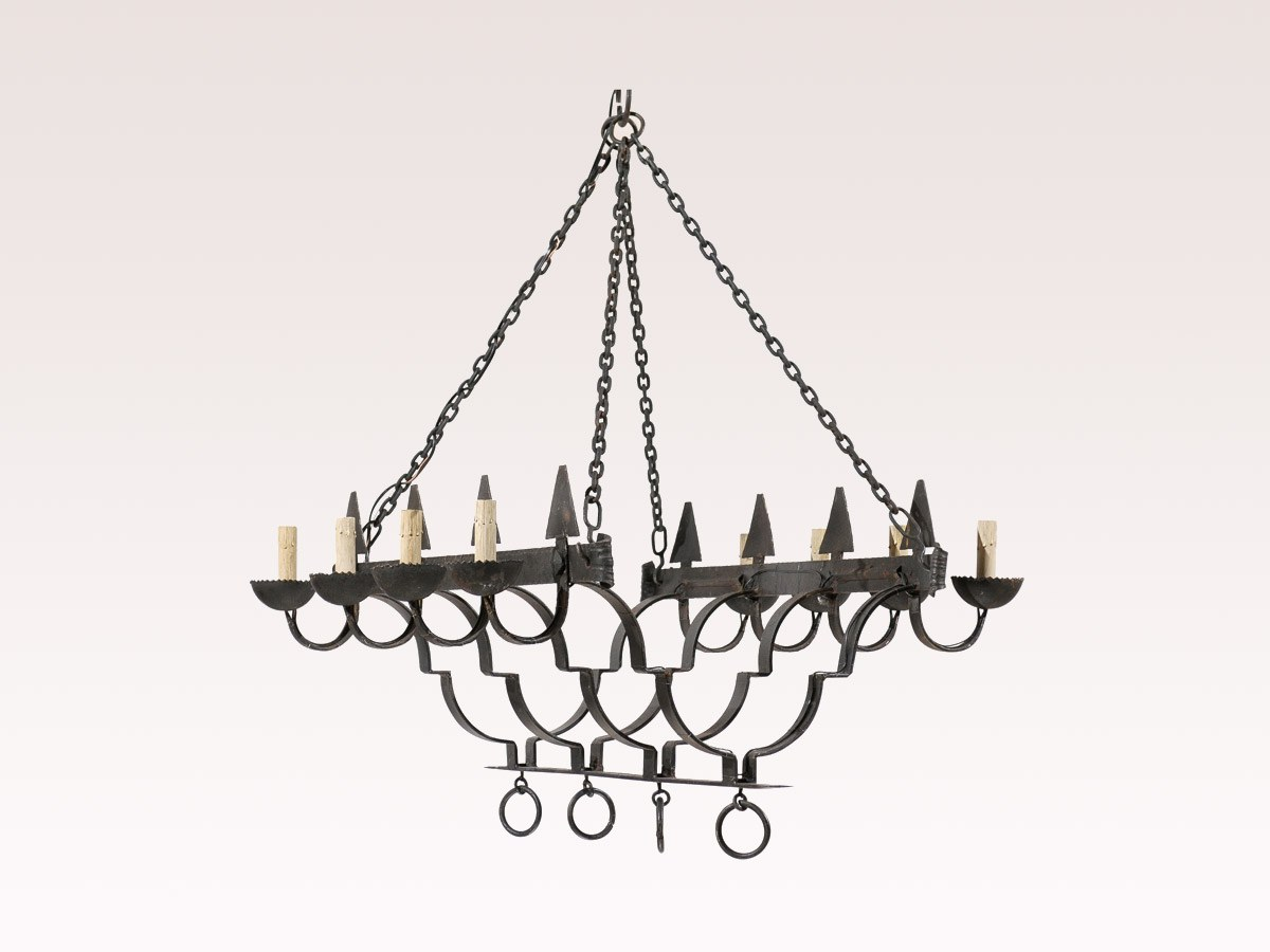 A French Forged Iron Chandelier