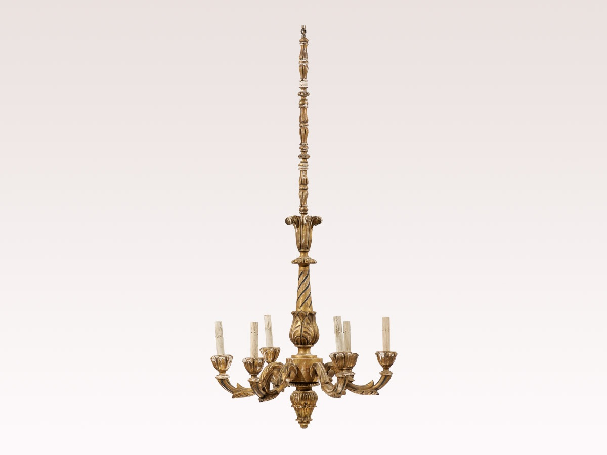 French Gilded Tall Chandelier