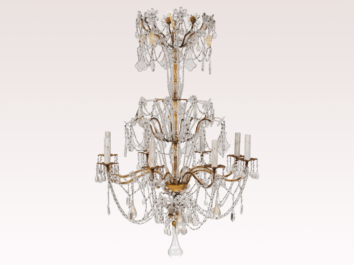 Crystal & Blown Glass Chandelier