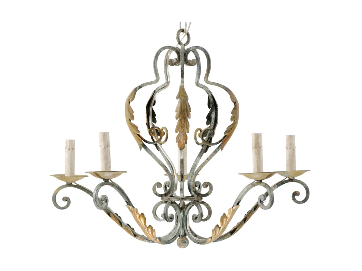 A French Painted Iron Chandelier