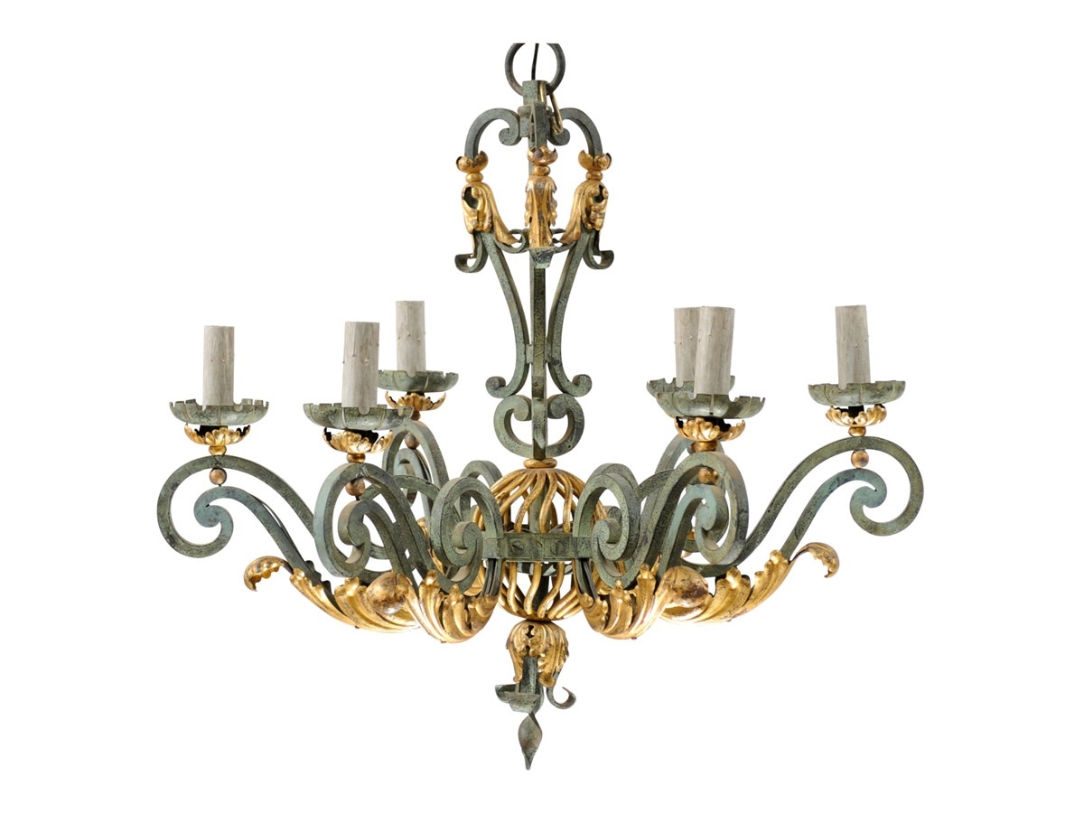A Verdigris Six-Light Chandelier
