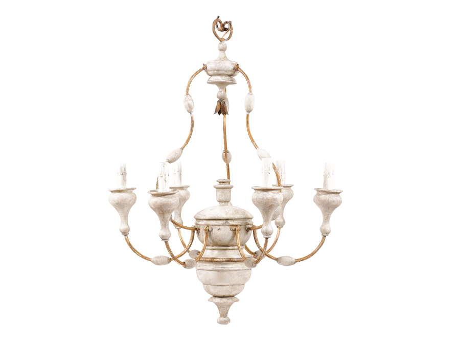 Italian Wood & Metal Chandelier