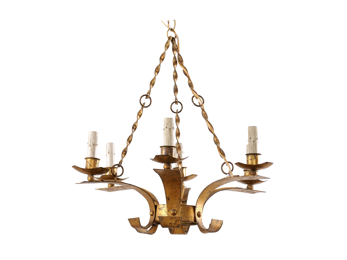 French Gold Six-Light Chandelier