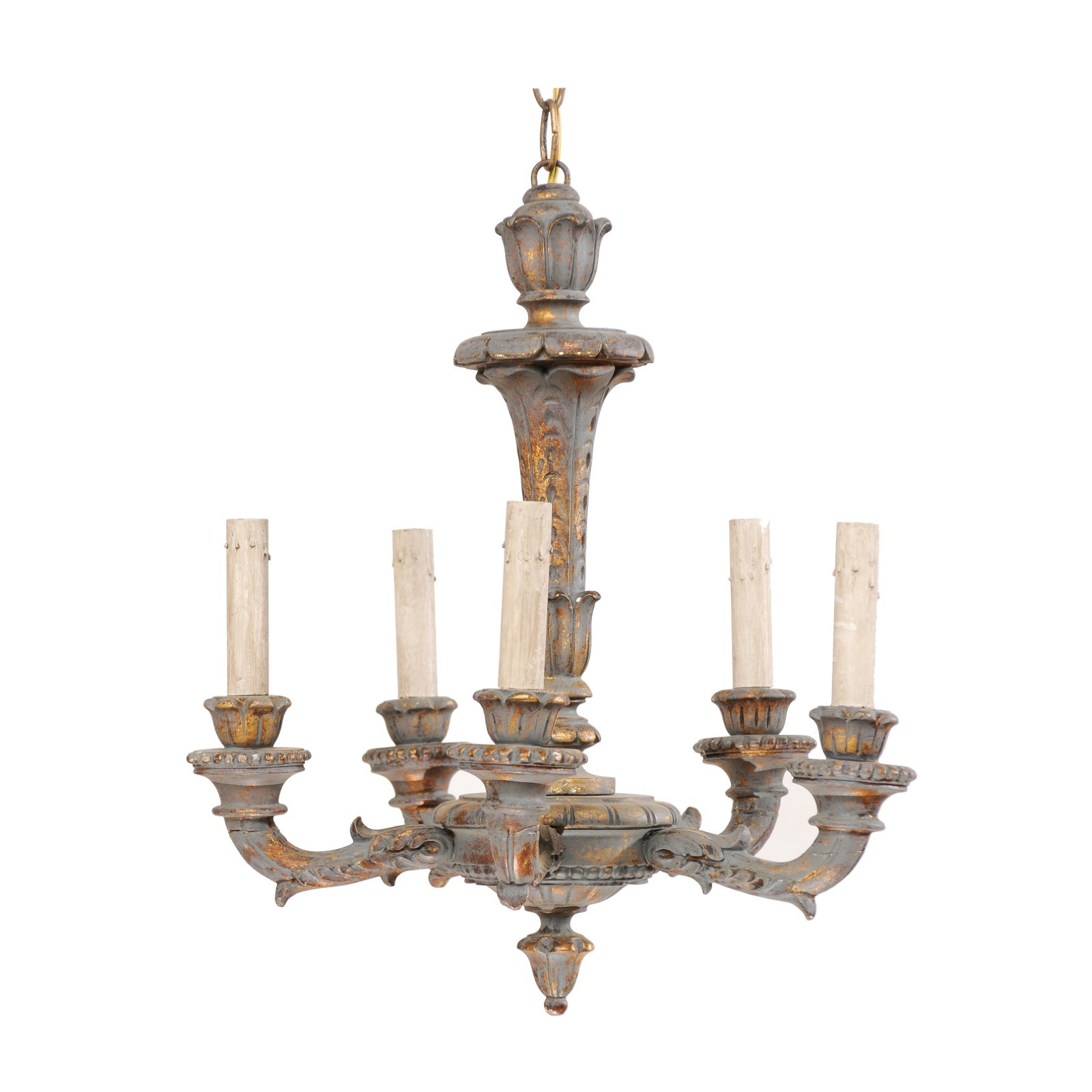 Petite-Sized French Painted Chandelier