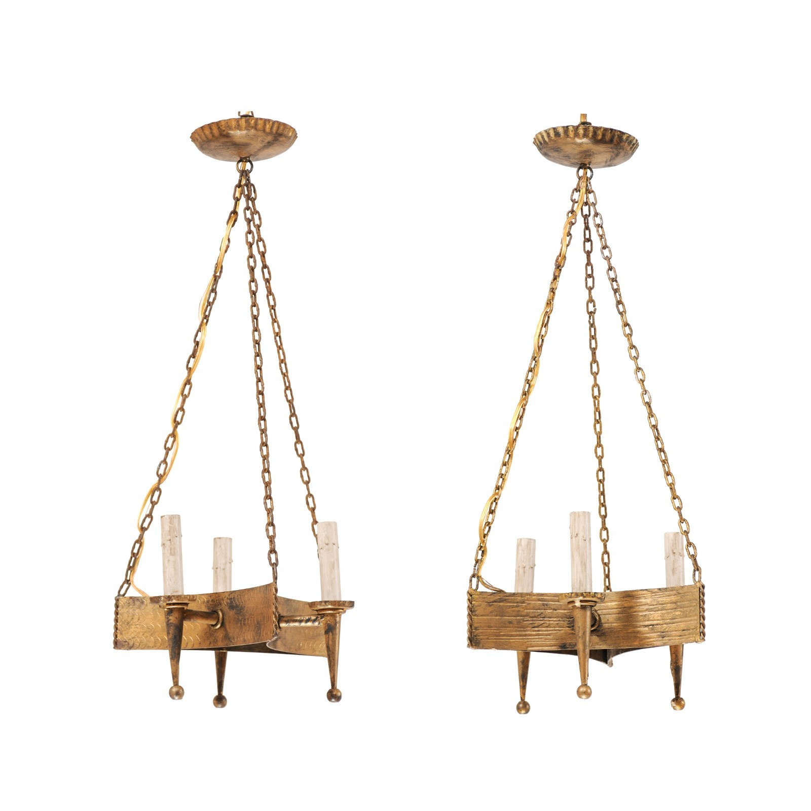 Pair French Hanging Lights, Gold Toned