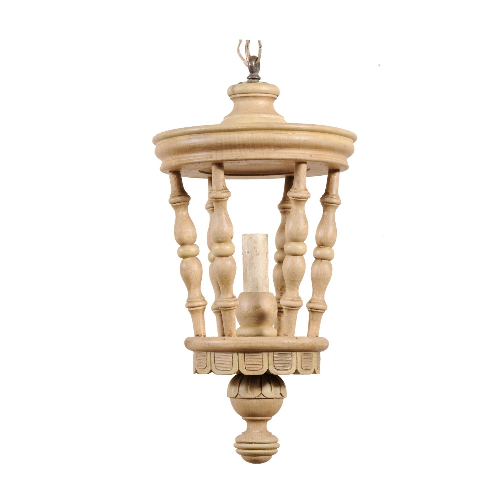 Lantern Style Carved-Wood Light, France