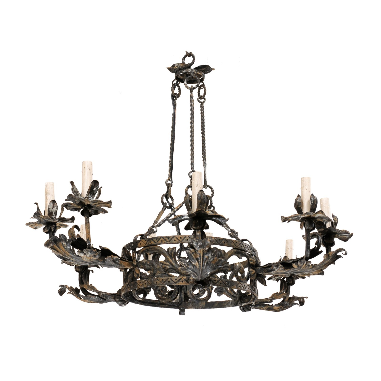 Foliage Motif Ringed Chandelier, Italy