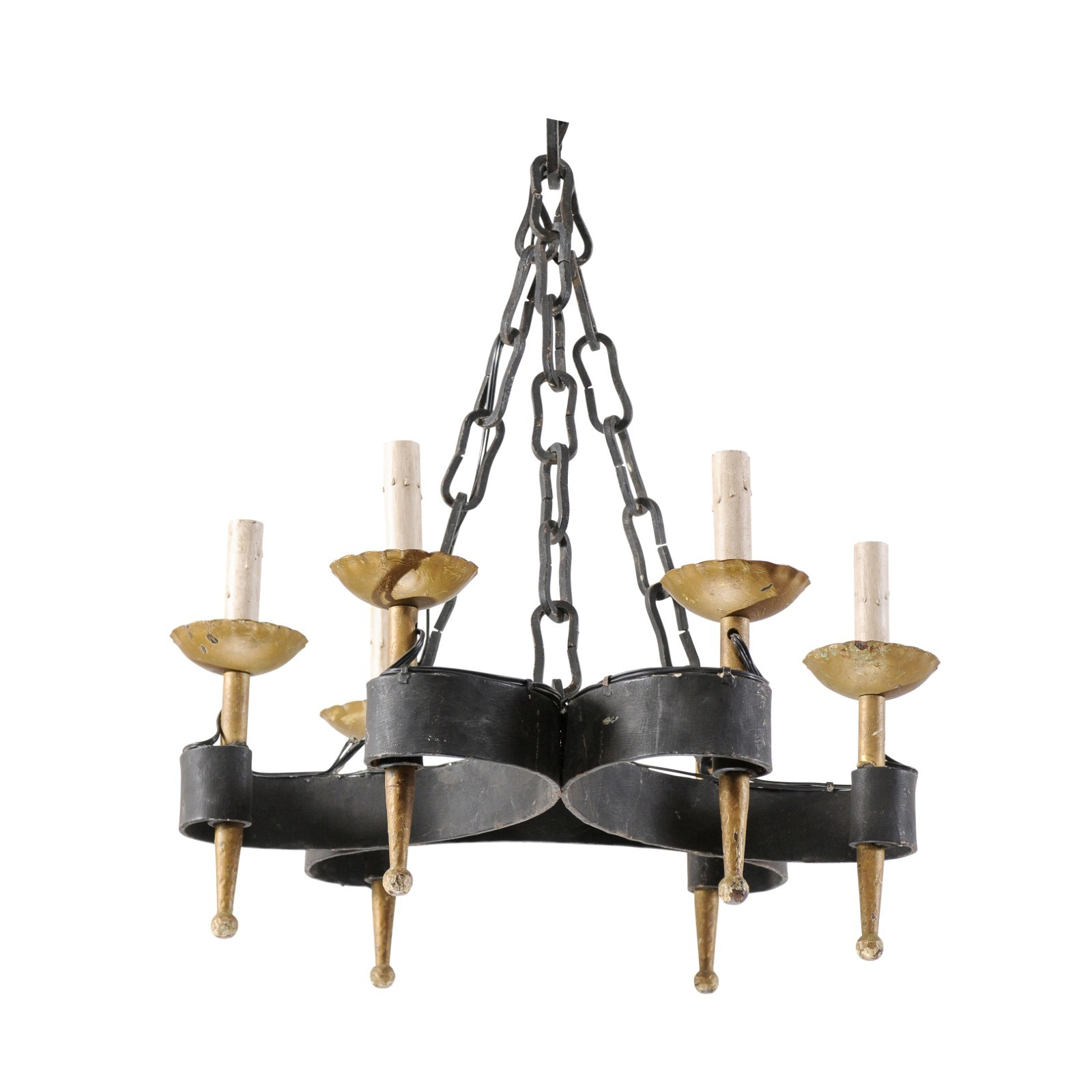 French Black & Gold Tone Iron Chandelier