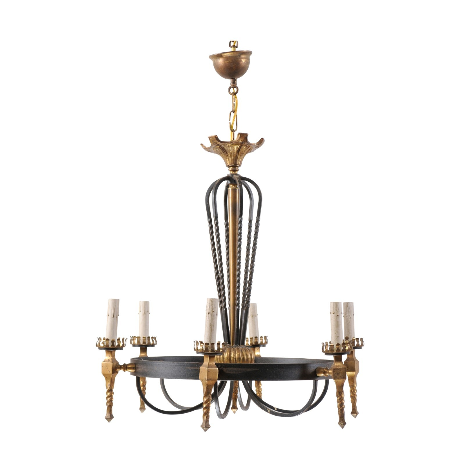 Vintage Chandelier in Black & Gold Tones