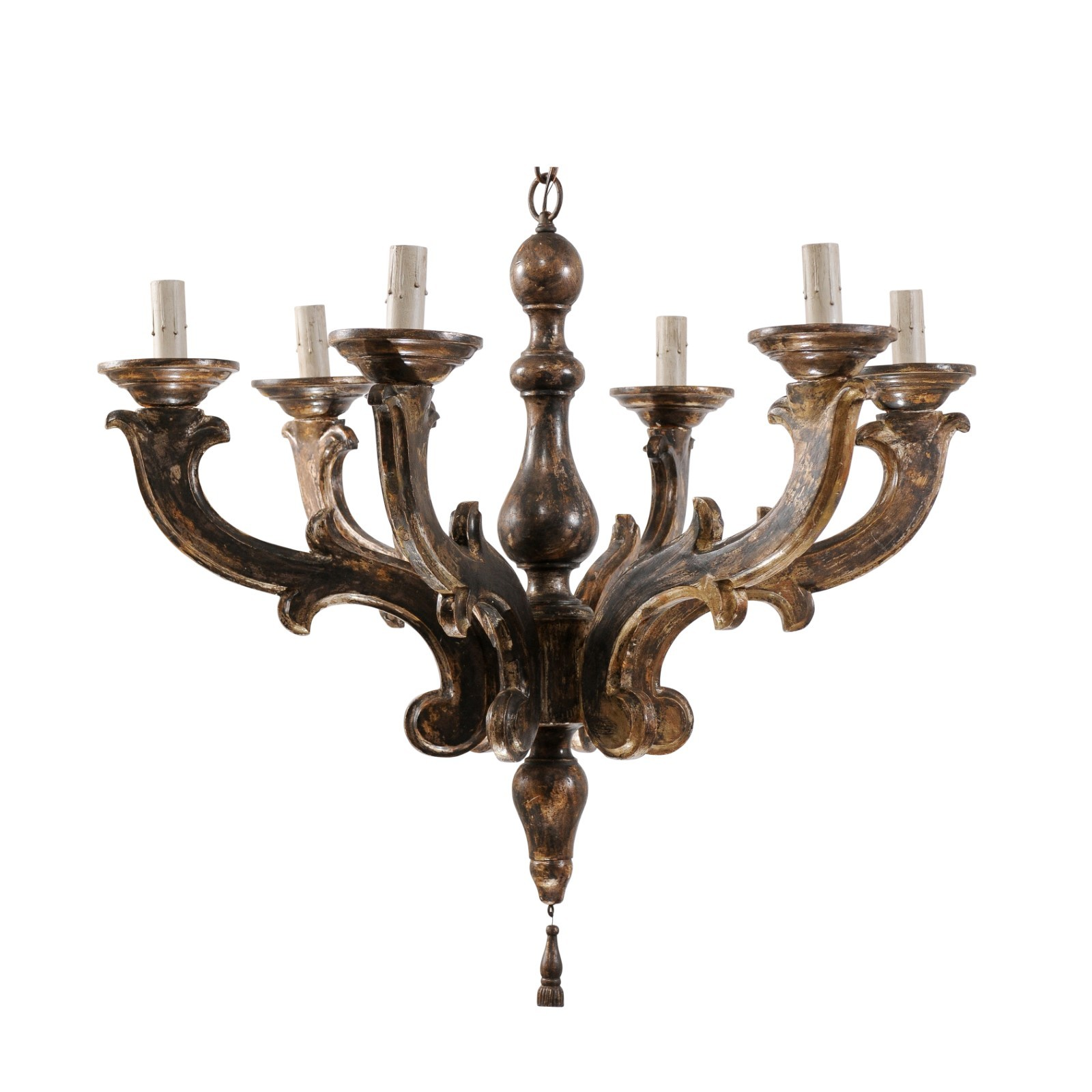 Italian Carved Wood 6-Light Chandelier
