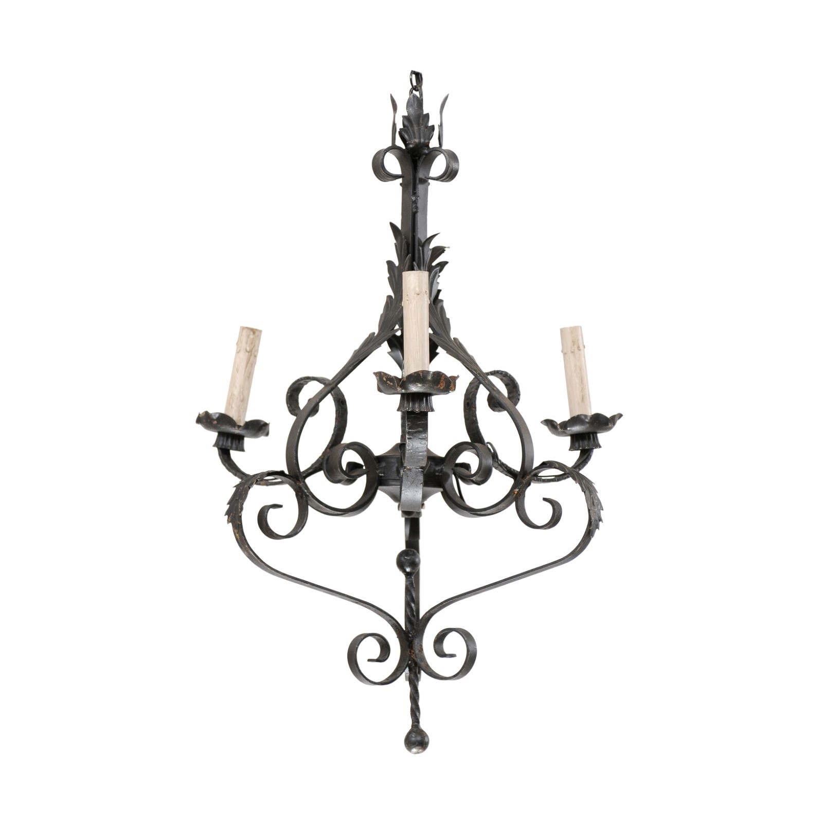 French Vintage Iron 3-Light Chandelier