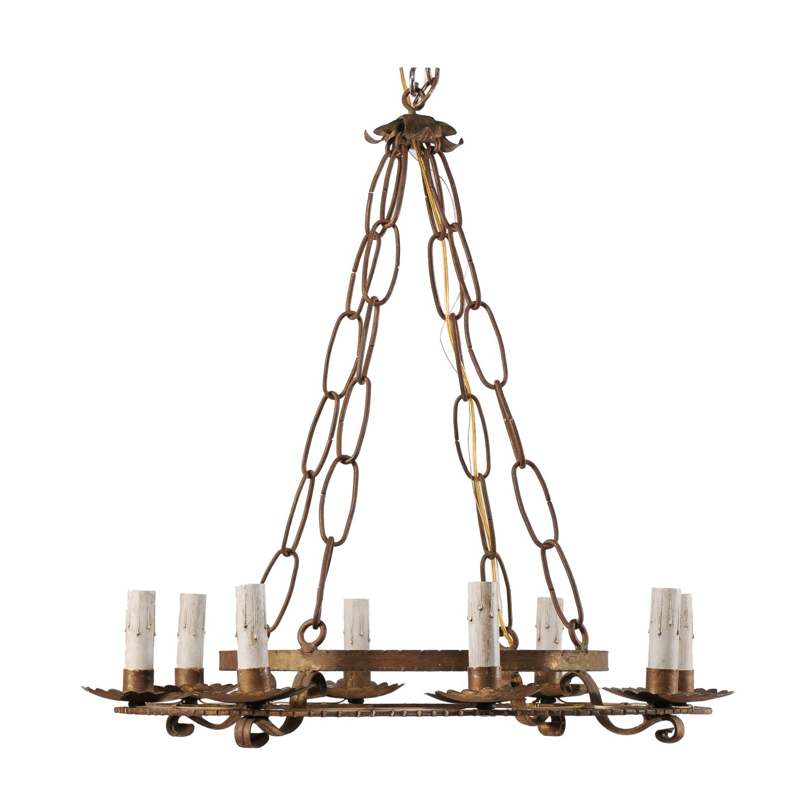French Double-Ringed Gold Iron Chandelier