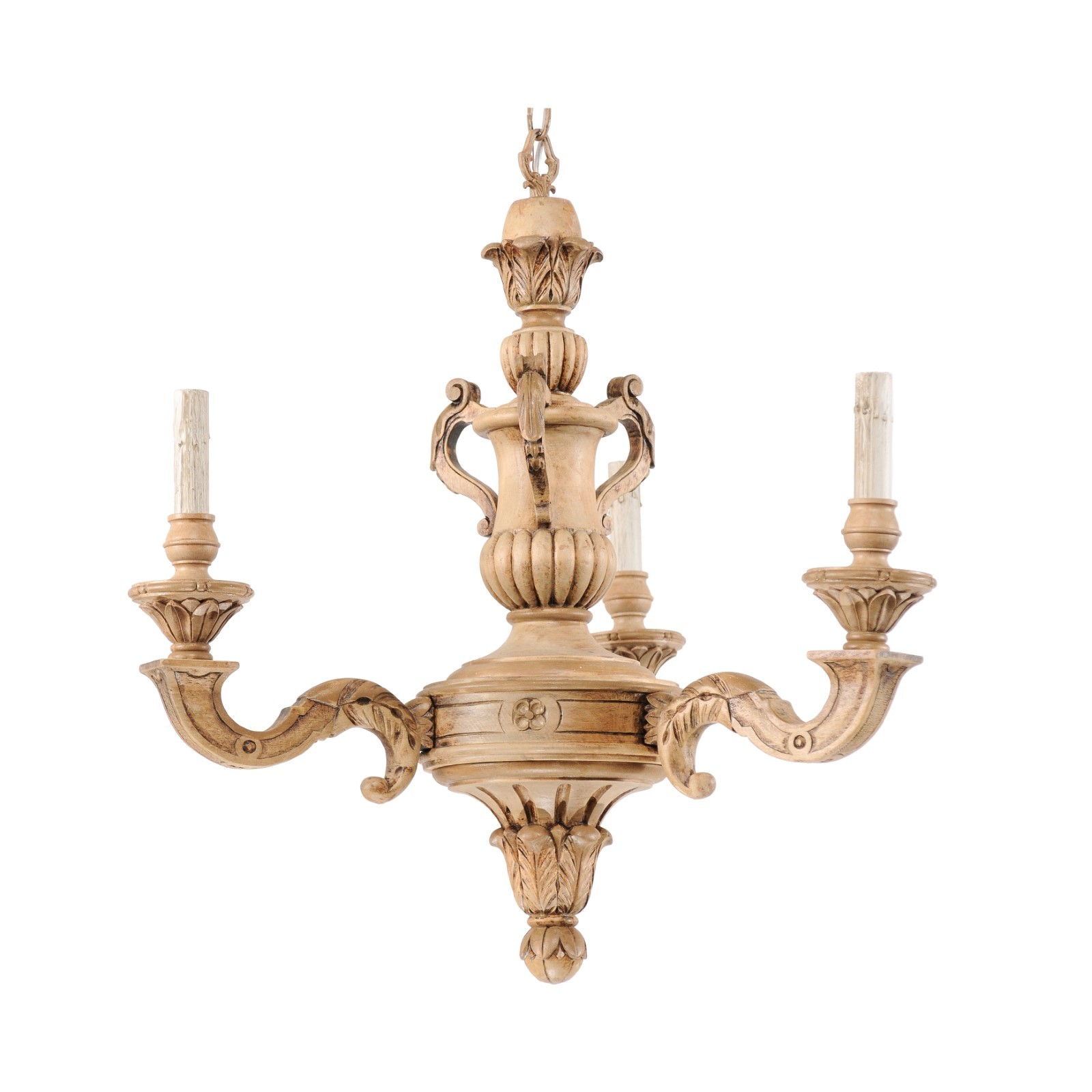 French 3-Light Carved-Wood Chandelier