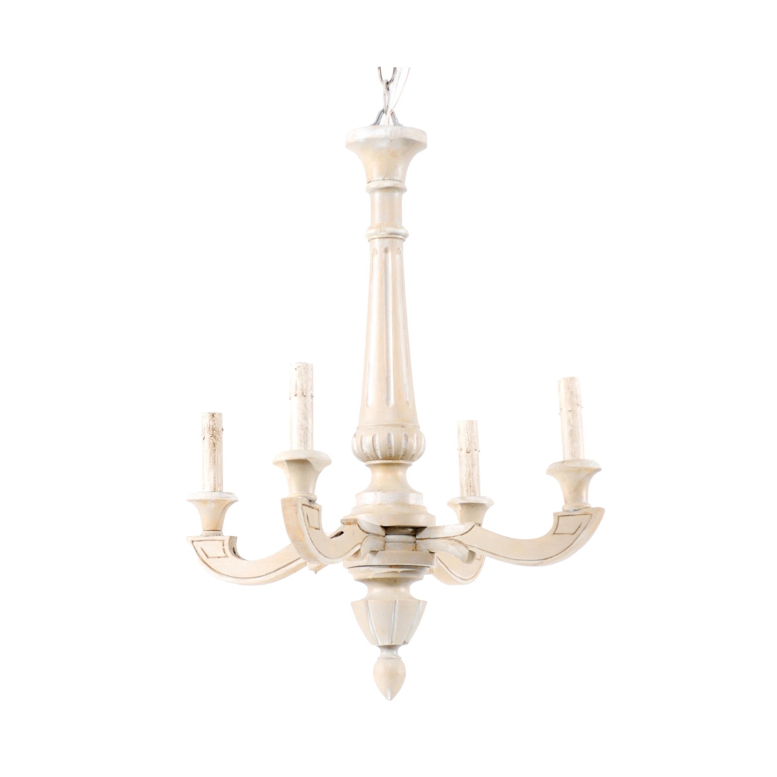 French Fluted-Column Chandelier, Pale Grey
