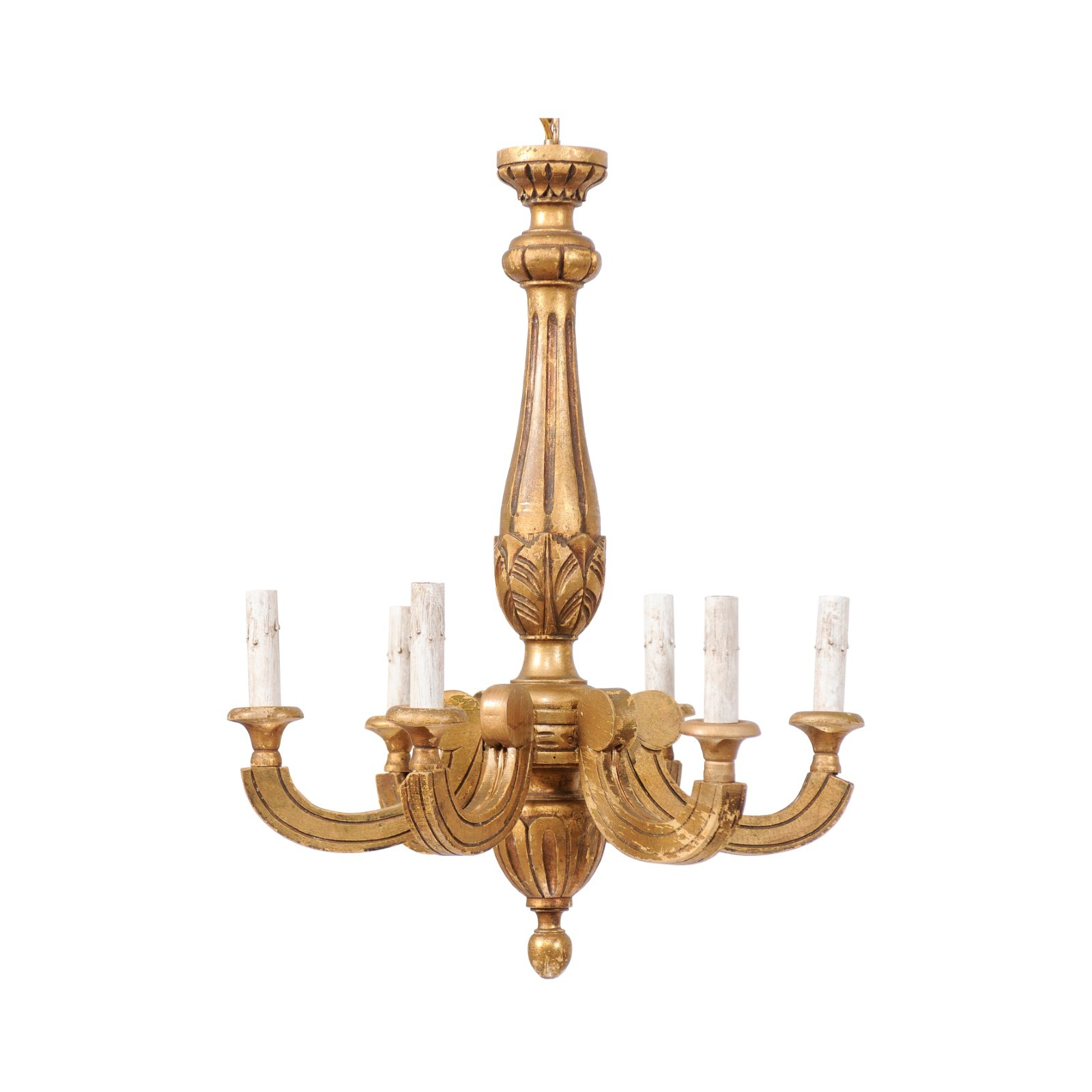 French 6-Light Gilt Chandelier