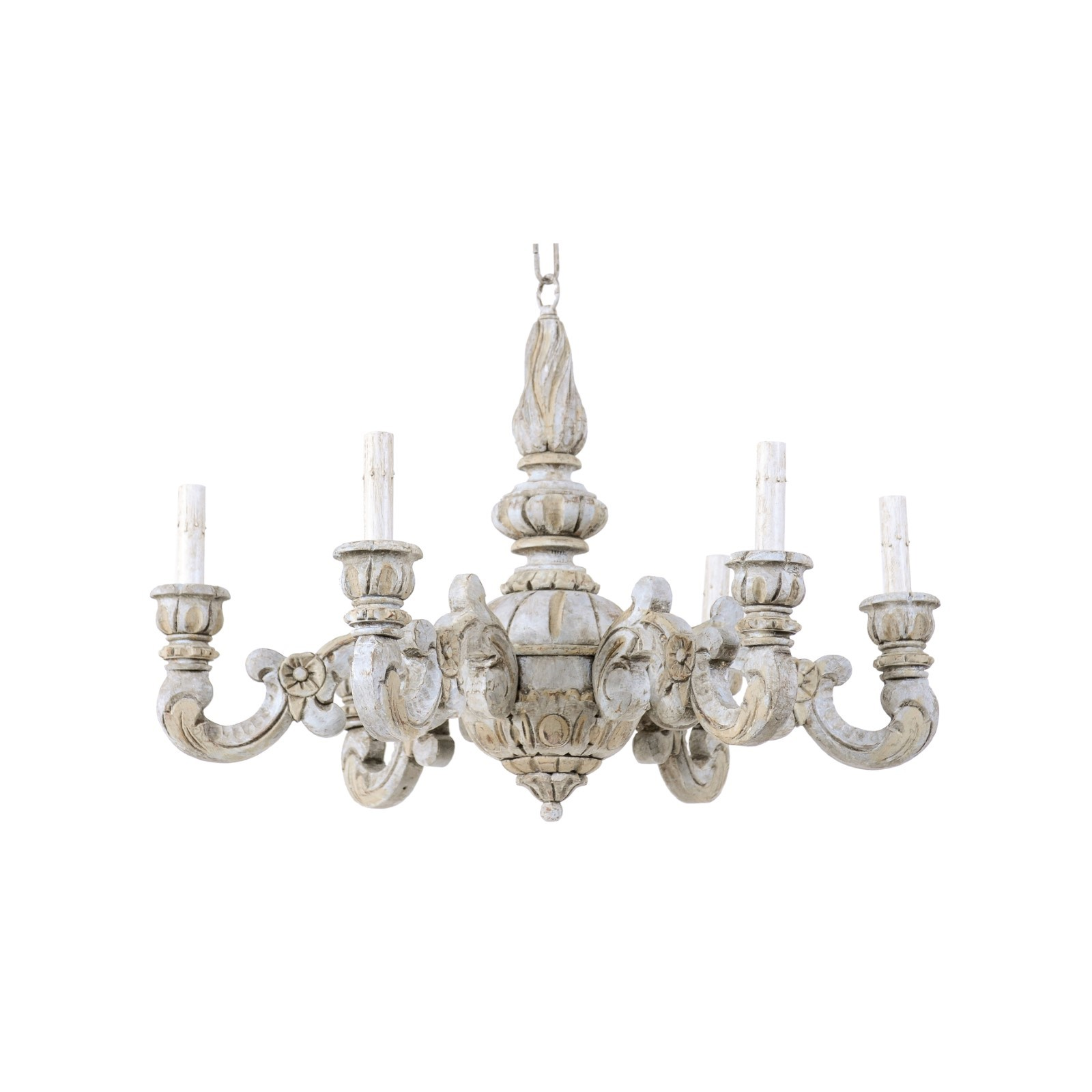 French Carved-Wood Chandelier, Light Blue