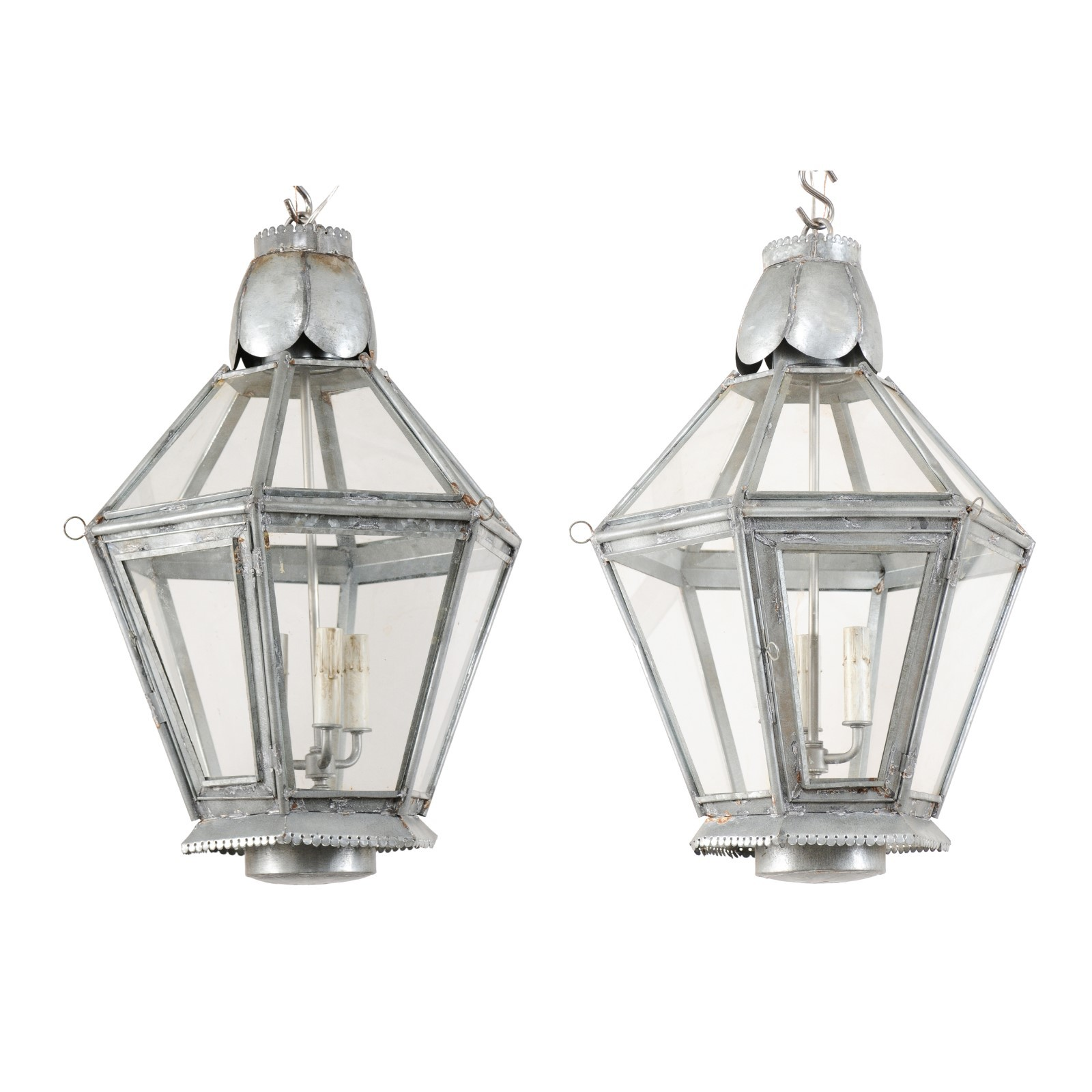 Pair Silver Hanging Lanterns w/3 Lights