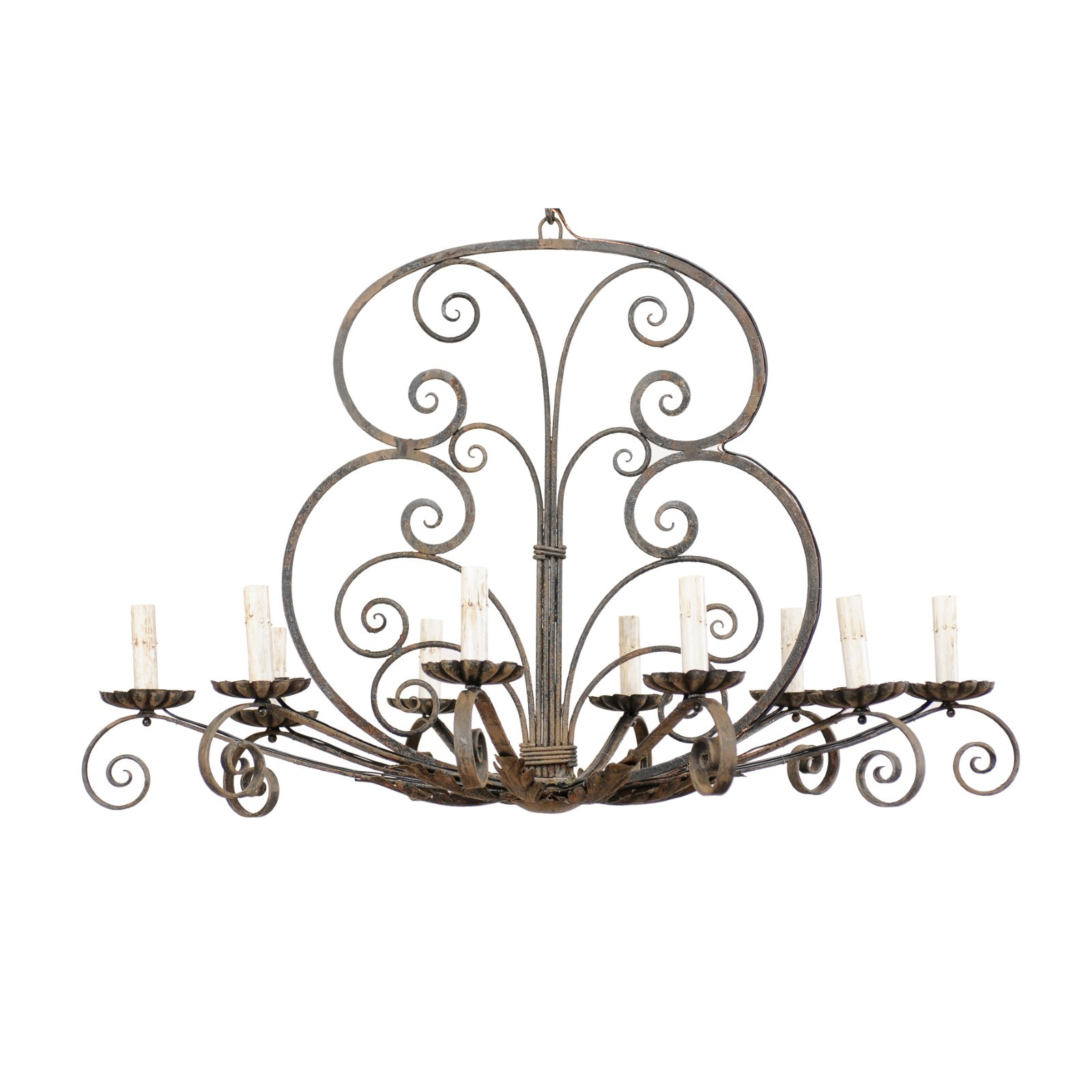 Ornate French Iron 10-Light Chandelier