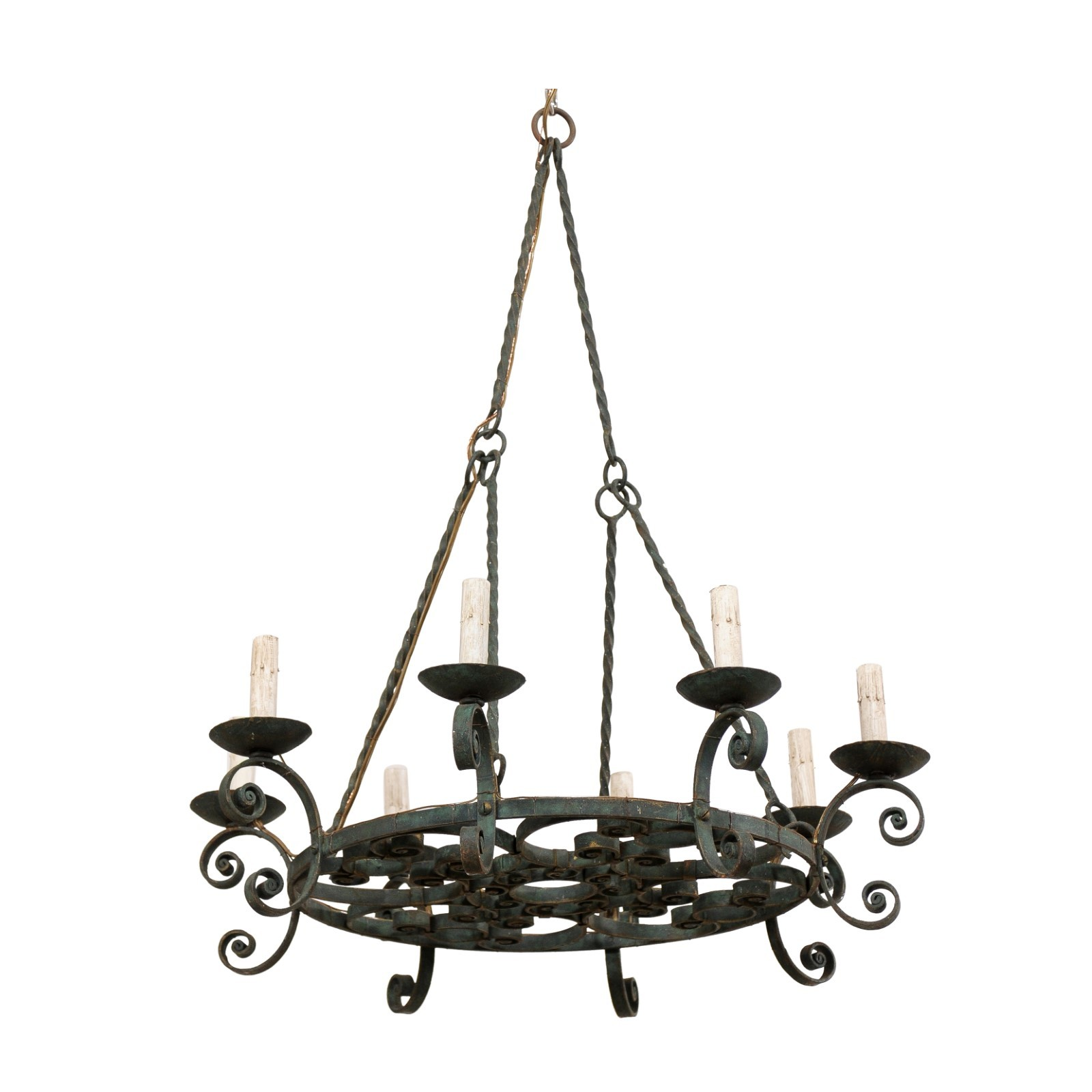 French Circular Painted Iron Chandelier