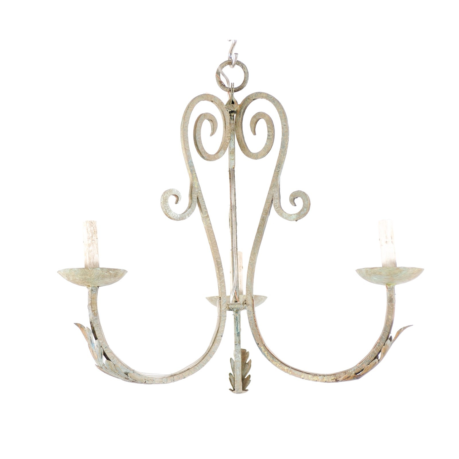 French Painted Iron 3-Light Chandelier