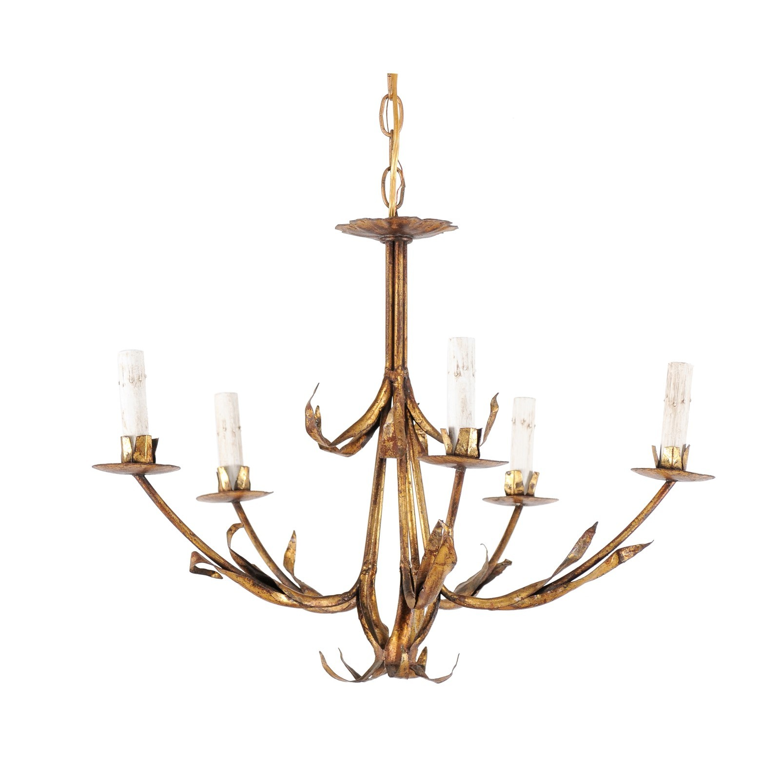 French Modern Foliage Inspired Chandelier