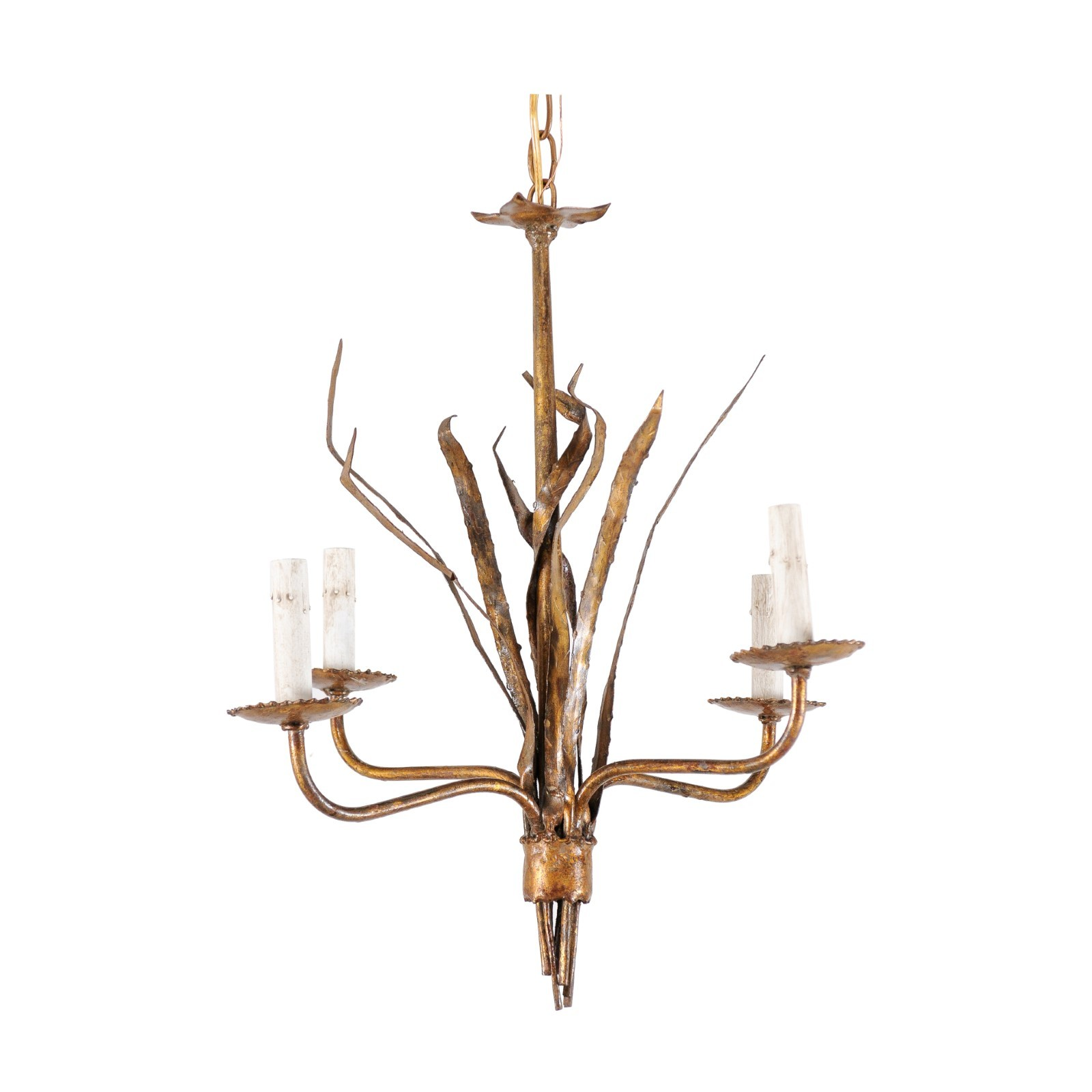 French Antiqued-Gold Tone Hanging Light
