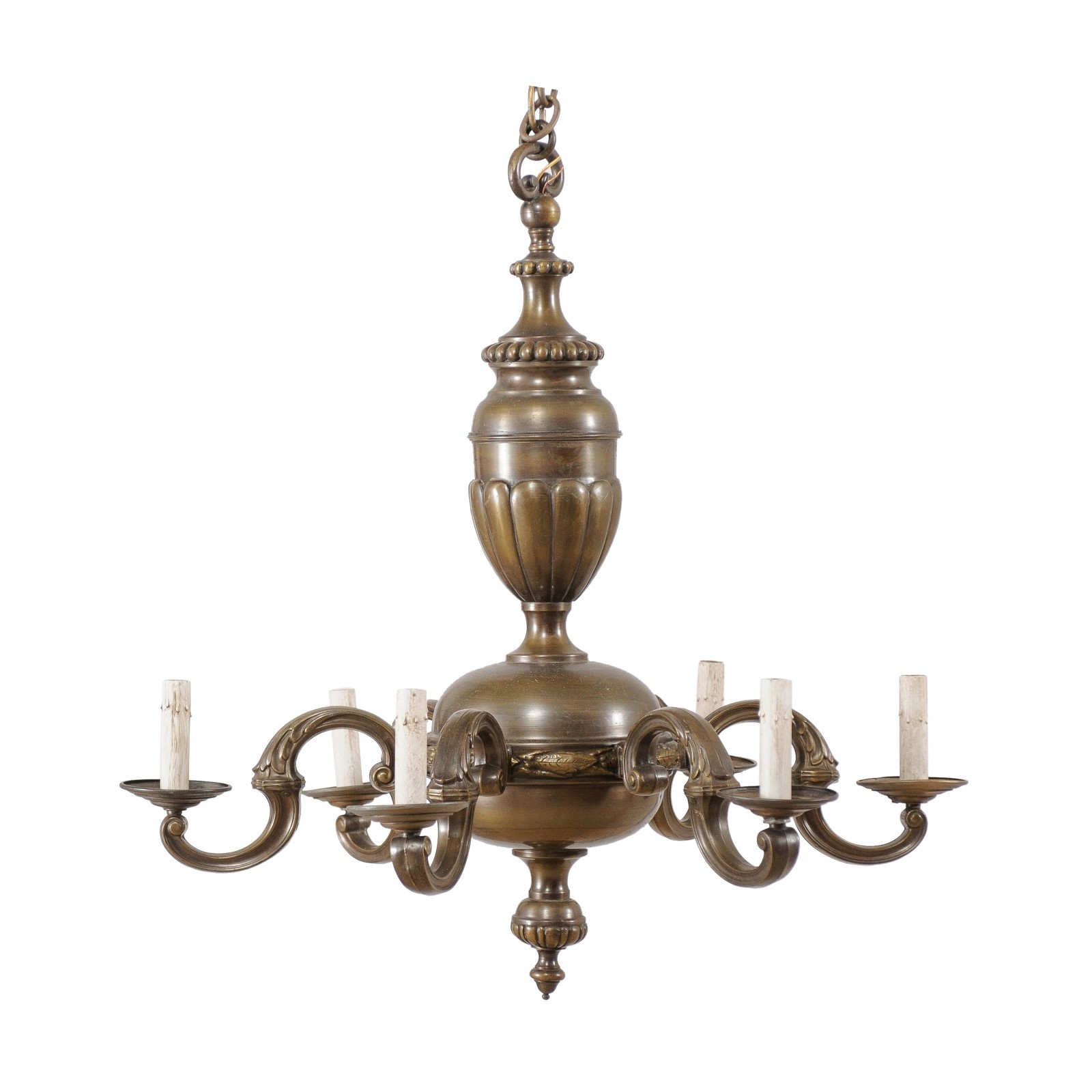 French Bronze Chandelier, Mid 20th C.