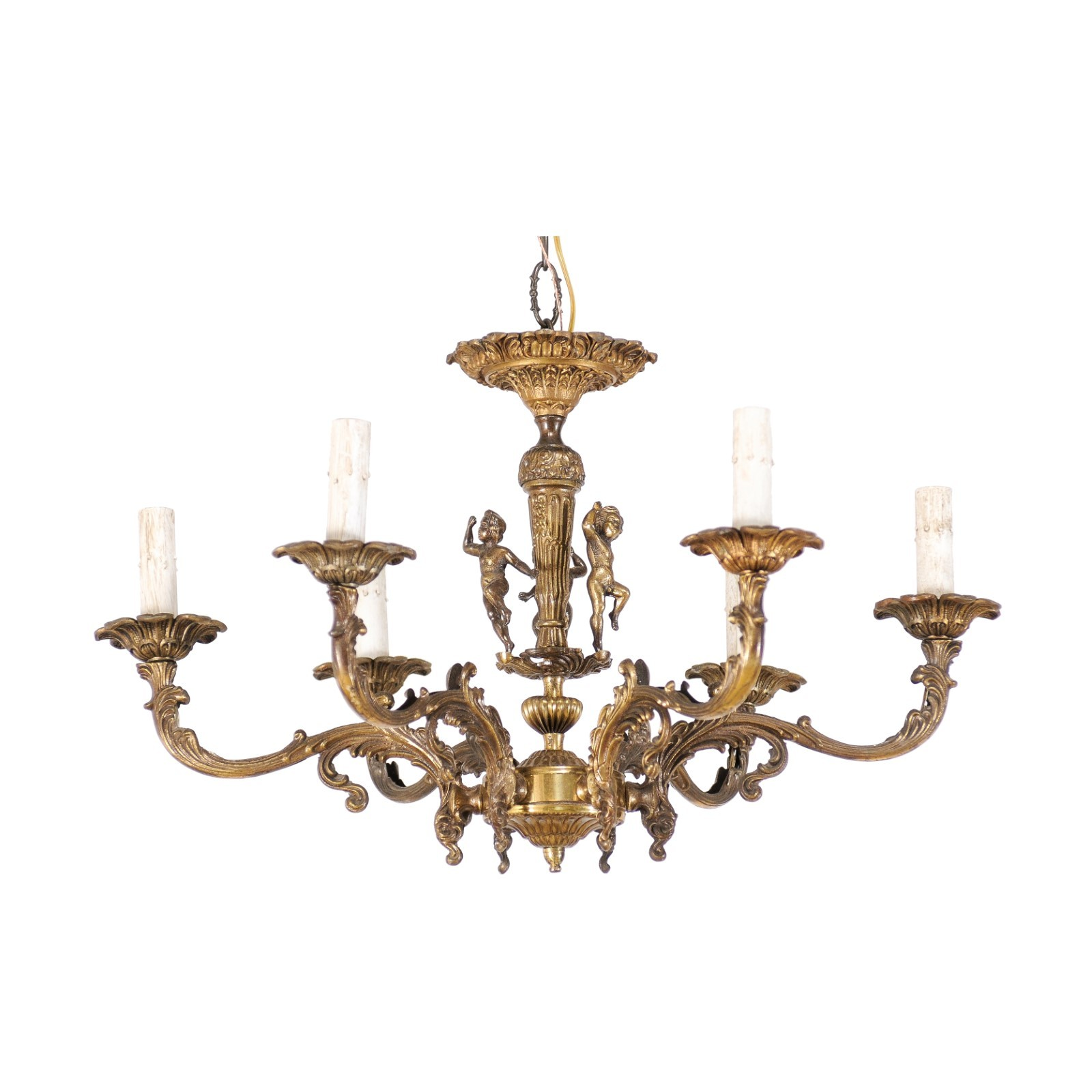 French Brass Chandelier w/ Putti Figures