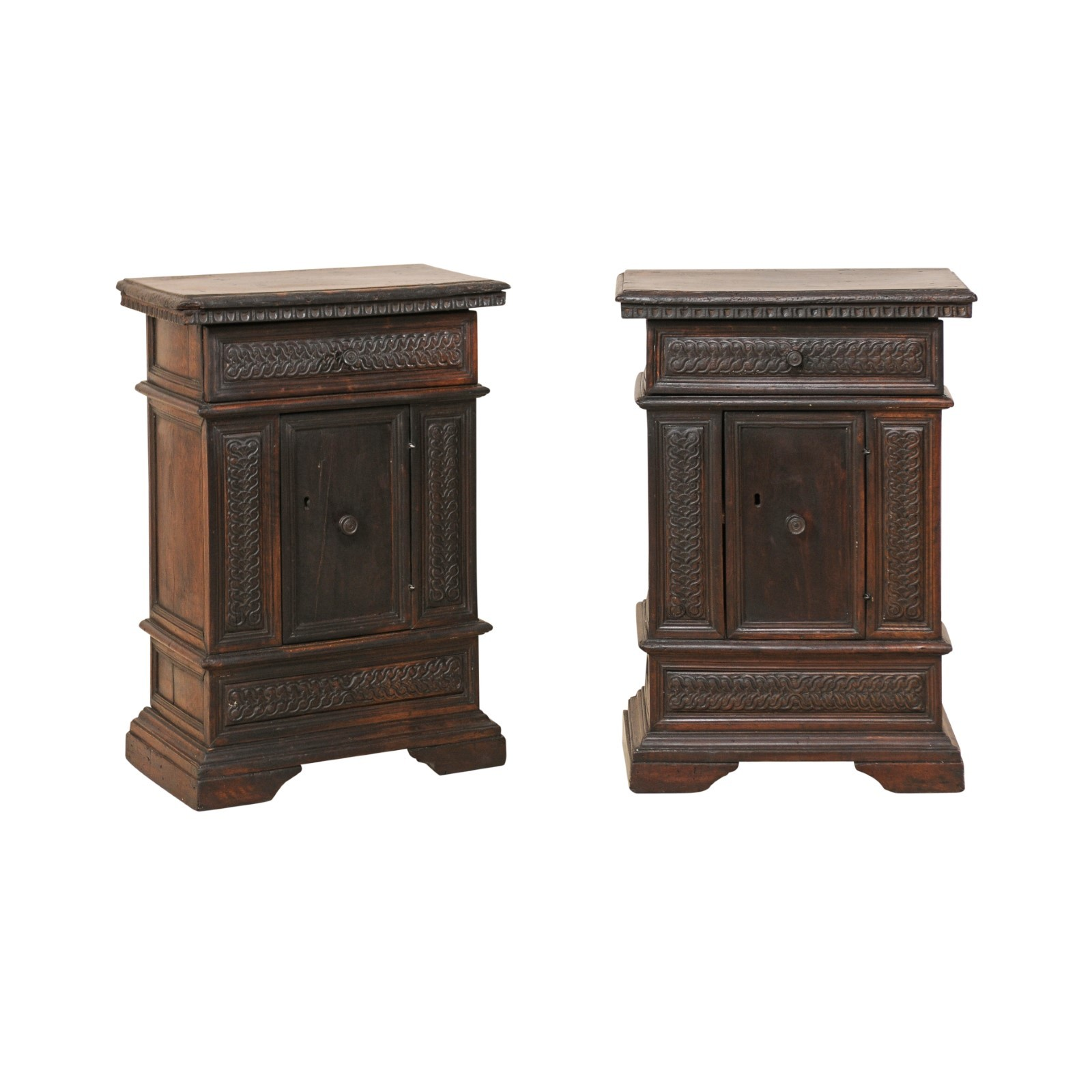 Pair Small Walnut Commodes, 18th C. Italy